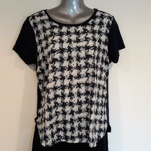 J. Crew Factory Navy and Cream Houndstooth Top